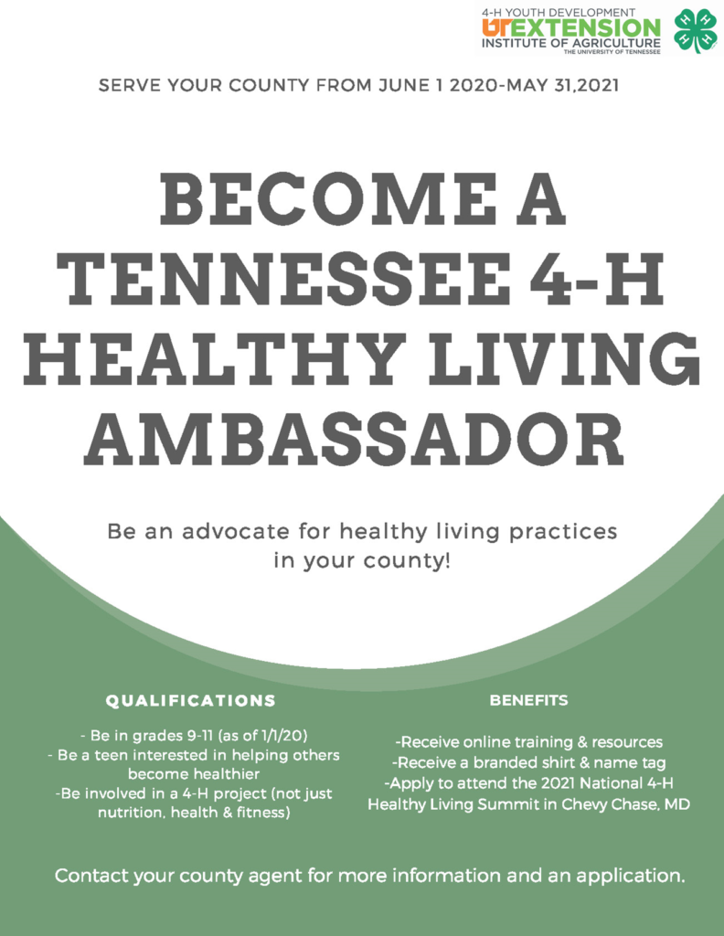 Become A Tennessee 4-H Healthy Living Ambassador