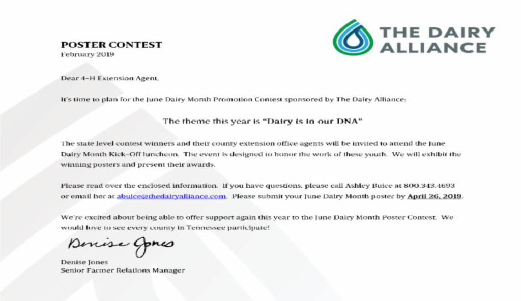TN Dairy Poster Contest Letter