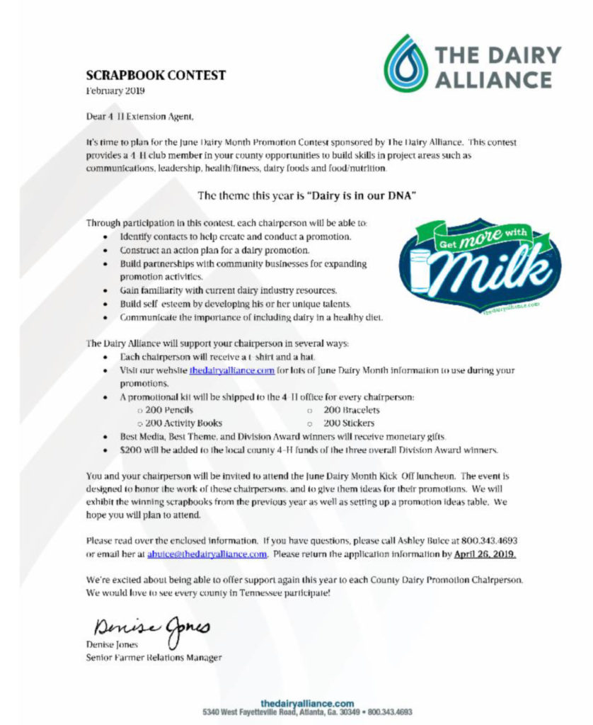TN Scrapbook Contest Letter