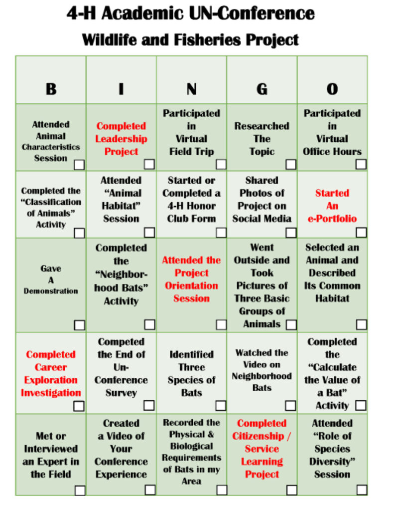 4-H Academic UN-Conference Wildlife and Fisheries Project - Bingo