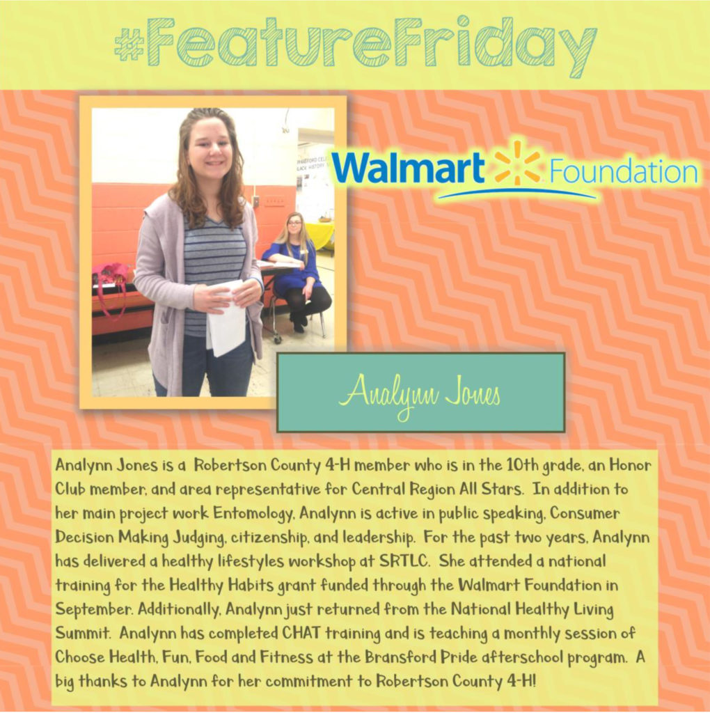 Feature Friday: Analynn Jones, Roberston County [Walmart Youth Choice: Youth Voice]