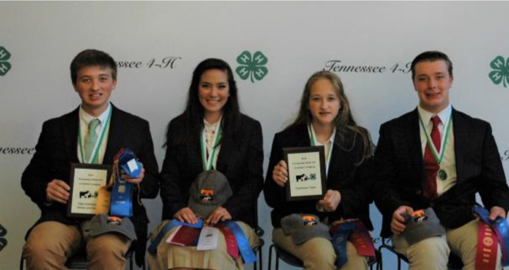 State 4-H Livestock Judging Contest Results - The Henry County Livestock Judging team com- prised of: Kara Barnhart, Benjamin Hayes, Murray Perkins and Katie Schultz took home champion honors, winning a trip to the National contest in Louisville, KY. this fall. The Henry County team is coached by Staci Foy, Melinda Perkins, and Ange- la Wilson.