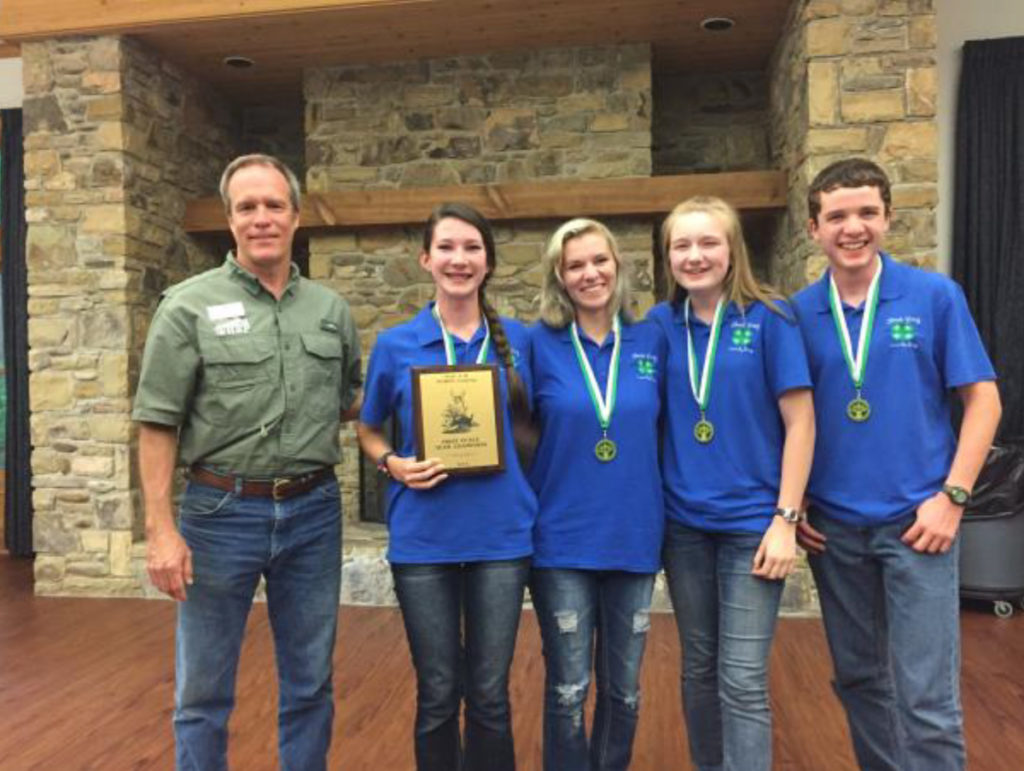 Wildlife Judging Results - Dr. Craig Harper, Extension Wildlife Specialist, with the winning team from Lincoln County: Sophie Buck, Chayton Stephens, Zoe Cowan and Ben Fisk
