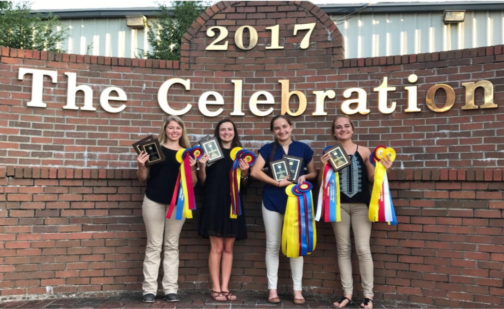 2017 State 4-H Horse Judging Results - Sumner County Champion Team: Amber Thornton, Megan Thornton, Georgia Smith and Erin Carver