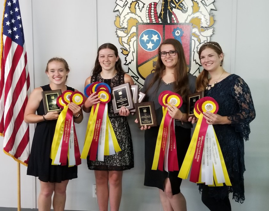 2017 State 4-H Horse Judging Results - Rutherford County Reserve Champion Team: Olivia Hayes, Shelby Finch, Rebecca Grace Stone and Charity Chandler