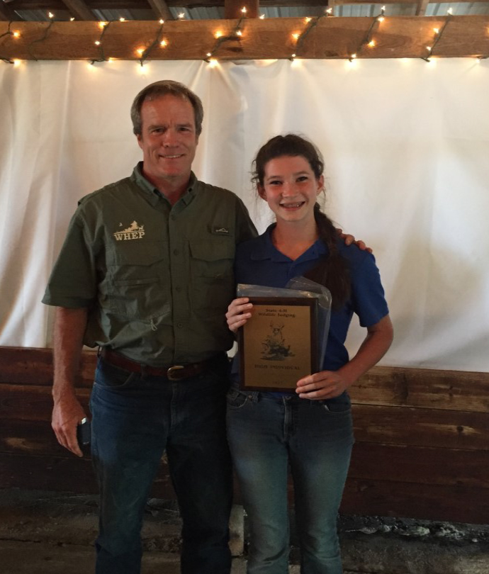 WILDLIFE JUDGING RESULTS - High Individual: Sophie Buck, Lincoln County, pictured with Dr. Craig Harper, Professor, UT Extension