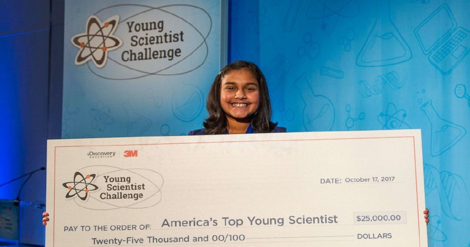 Williamson County 4-H'er Gitanjali (Anjali) Rao won the 2017 Discovery Edu- cation 3M Young Scientist Challenge and a check for $25,000.00