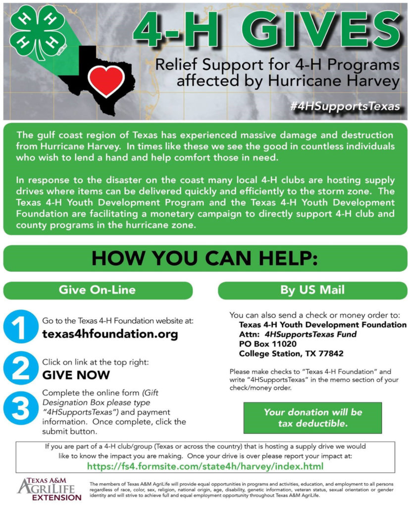 """4-H Gives Relief Support for 4-H Programs affected by Hurricane Harvey #4HSupportsTexas The gulf coast region of Texas has experienced massive damage and destruction from Hurrican Harvey. In times like these we see the good in countless individuals who wish to lend a hand and help comfort those in need. In response to the disaster on the coast many local 4-H clubs are hosting supply drives where items can be delivered quickly and efficiently to the storm zone. The Texas 4-H Youth Development Progam and the Texas 4-H Youth Development Foundation are facilitating a monetary campaign to directly support 4-H club and county programs in the hurricane zone. How You Can Help: Give On-Line: 1. Go to the Texas 4-H Foundation website at: texas4hfoundation.org 2. Click on link at the top right """"Give Now"""" 3. Complete the online form (Gift Designation Box please type """"4HSupportsTexas"""") and payment information. Once complete, click the submit button. By US Mail: You can also send a check or money order to: Texas 4-H Youth Development Foundation ATTN: 4HSupportsTexas Fund PO Box 11020 College Station, TX 77842 Please make checks to """"Texas 4-H Foundation"""" and write """"4HSupportsTexas"""" in the memo section of you check/money order. Your donation will be tax deductible. If you are part of a 4-H club/group (Texas or across the country) that is hosting a supply drive we would like to know the impact you are making. Once your drive is over please report your impact at: https://fs4.formsite.com/state4h/harvey/index.html Texas A&M Agrilife Extension The members of Texas A&M AgriLife will provide equal opportunities in programs and activities, education, and employment to all persons regardless of race, color, sex, religion, national origin, age, disability, genetic information, veteran status, sexual orientation or gender identity and will strive to achieve full and equal employment opportunity throughout Texas A&M AgriLife."""