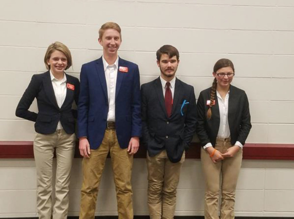 Knox County 4-H Poultry Judging Team Competes at National Competition - Pictured Left to Right: Kendra Sellers, Ethan Creech, Lane Atchley, Portia Sauerhofer