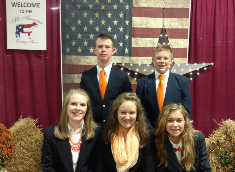LINCOLN COUNTY - Participates in the All American Dairy Judging Contest - Seated Left to Right – Jana Owen, Lily Cowan and Olivia Hughes. Standing left to right – Alex Moore and Nic Bradley