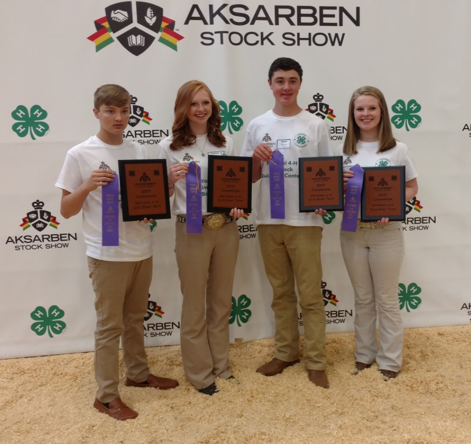 LINCOLN COUNTY - NATIONAL LIVESTOCK QUIZ BOWL CHAMPIONS!! - Left to Right – Zach Snoddy, Kendall martin, Nolan Paladino and Jana Owen