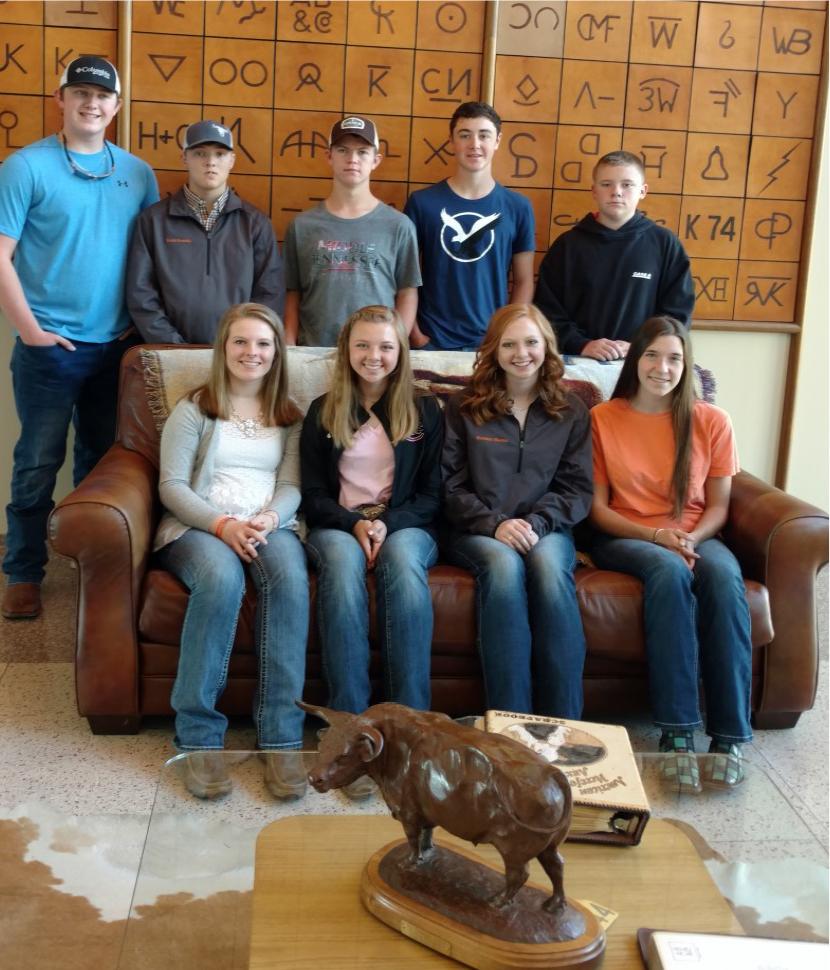 LINCOLN COUNTY - NATIONAL LIVESTOCK QUIZ BOWL CHAMPIONS!! - Seated (Left to right) – Jana Owen, Sorrell Martin, Kendall martin and Juliann Fears. Standing (Left to Right) – Nathan Simmons, Zach Snoddy, Alex Moore, Nolan Paladino and Nic Bradley