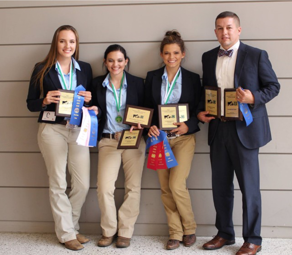 State 4-H Livestock Judging Competition - The Fentress County team of Rachel Bennett, Macy Waters, and Mckinley Waters