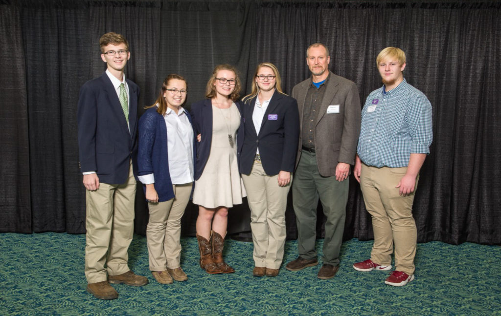 National 4-H Poultry and Egg Conference - Pictured (L-r): Austin Parker, Casey Jansch, Aubrey Garrison, and Jeana Romines from Sumner County; Al Borders (Robby's father) and Robby Borders from Loudon County. Not pictured was Caz Bilbrey from White County.