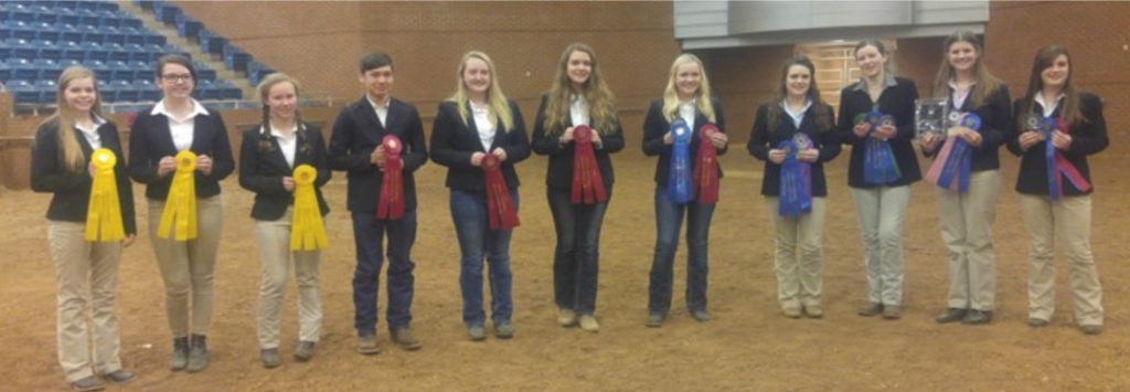 Hippology Senior Teams - 12 Teams 1 - Rutherford County: Charity Chandler, Anna Moore, Cara Moore, Rebecca Grace Stone 2 - Madison County: Zach McCarver, Abby MaCalmon, Taylor Perry, Katherine Theirfelder 3 - Blount County: Madeline Parr, Siena Spanyer, Rachel Ottinger