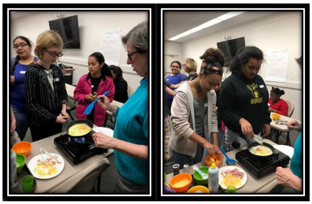 Current Grant Projects: Robertson County [Walmart Youth Choice: Youth Voice] - FCS Agent, Judy Kovach, teaching youth how to make omelets. (left) SmartChefs making omelets. (Right)