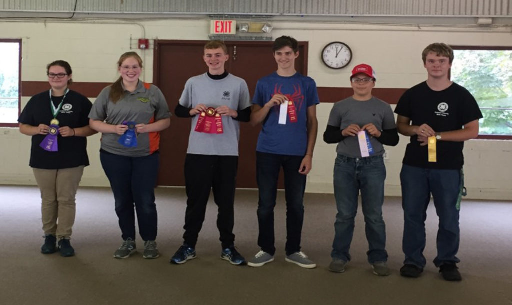 State 4-H Shooting Sports Invitational Winners - Air Rifle Winners - (L to R): Gabrielle Thornton (1st), Dickson County; Morgan Smith (2nd), Dickson County; Jake Sloan (3rd), White County; Kendal Penick (4th), Weakley County; Joey Morris (5th), White County; and Aaron Swaw (6th), Dickson County
