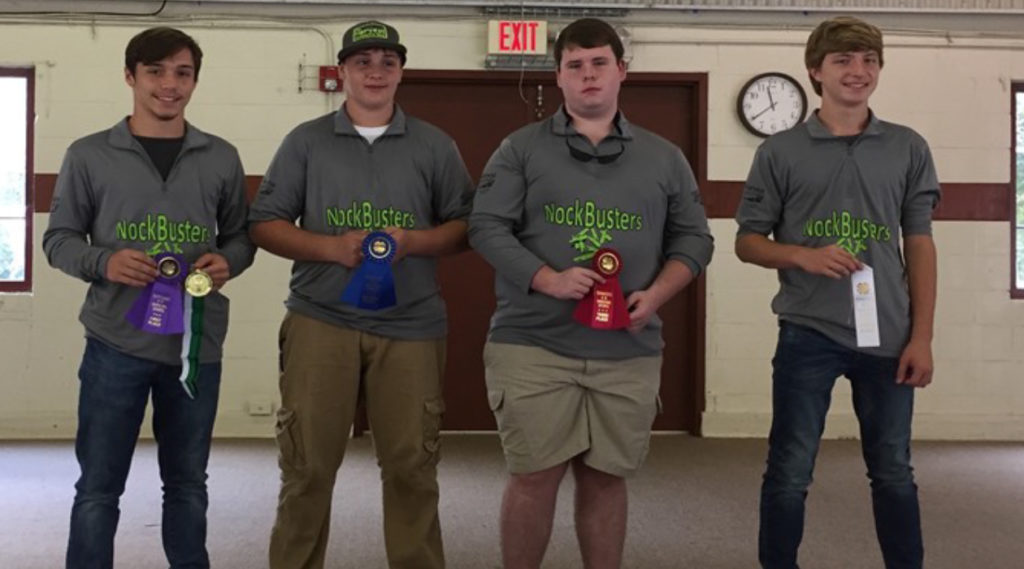 State 4-H Shooting Sports Invitational Winners - Compound Archery Winners - (L to R): River Swafford (1st), Rhea County; Coleman Hamilton (2nd), Rhea County; Bryson Martin (3rd), Rhea County; and Riley Swafford (4th), Rhea County