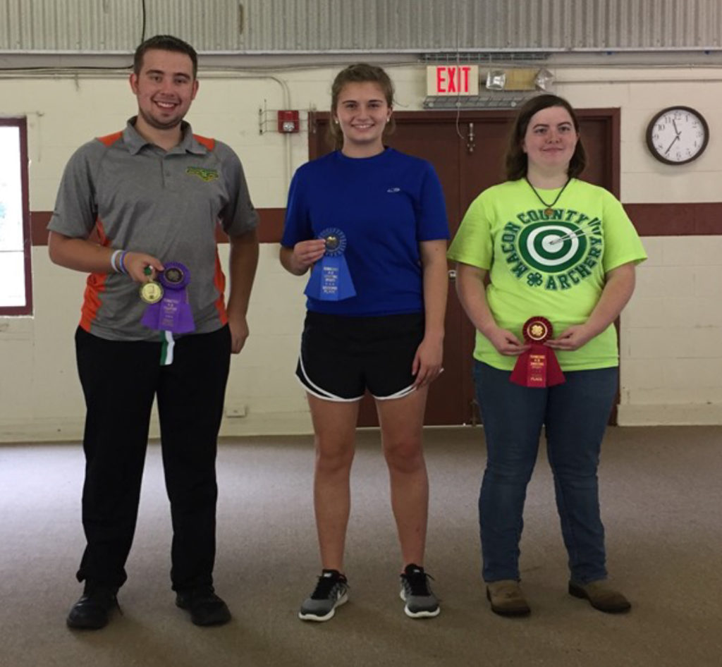 State 4-H Shooting Sports Invitational Winners - Recurve Archery Winners - (L to R): Ian Terrell (1st), Williamson County; Mikayle Skillman (2nd), Hamilton County; and Amber Naramore (3rd); Macon County