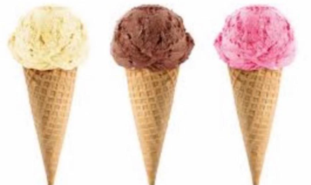 Vanilla Ice Cream Cone, Chocolate Ice Cream Cone & Strawberry Ice Cream Cone