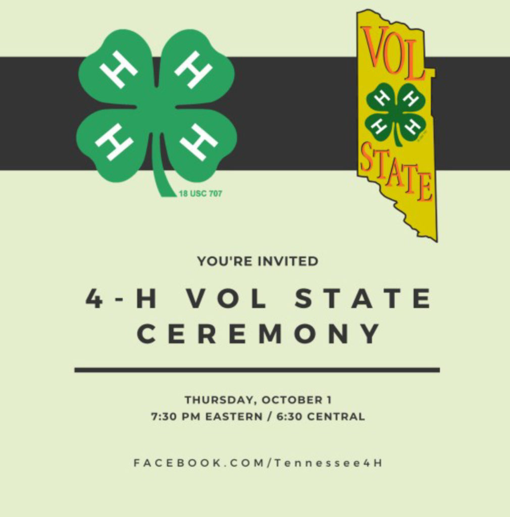 You're Invited 4-H Vol State Ceremony