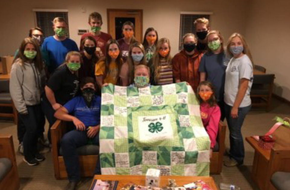 Make It Count - Justin Crow with 4-H Group and a Quilt