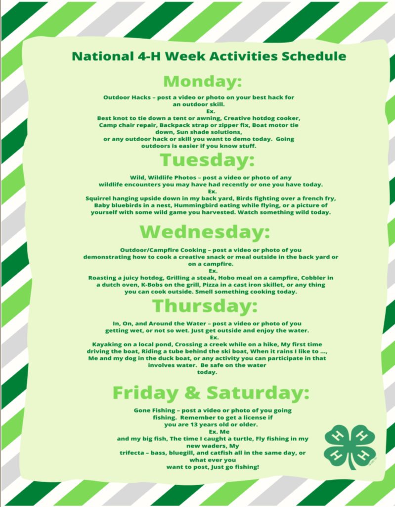 National 4-H Week Activities Schedule